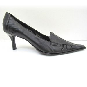 BAKERS Pleated Black Leather Heels Size 9